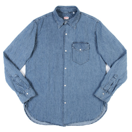 Arpenteur Ted Shirt - Bleach Wash Cotton-Linen Denim