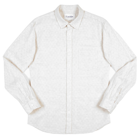 Corridor Long Sleeve Woven Shirt - Natural Block Dot Olive