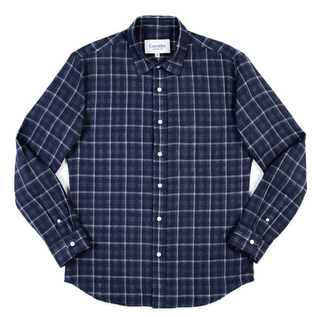 Corridor Long Sleeve Woven Shirt—Navy Plaid Double Cloth