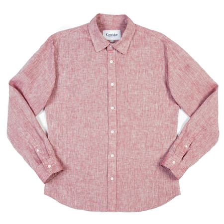 Corridor Long Sleeve Woven Shirt - Red Linen
