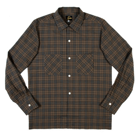 Needles Cut-Off Bottom One-Up Shirt - Brown Plaid