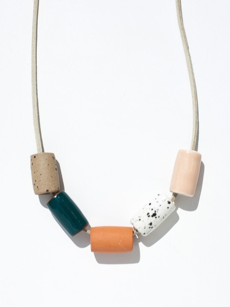 The Pursuits of Happiness Ceramic Bead Necklace - Blush/Teal