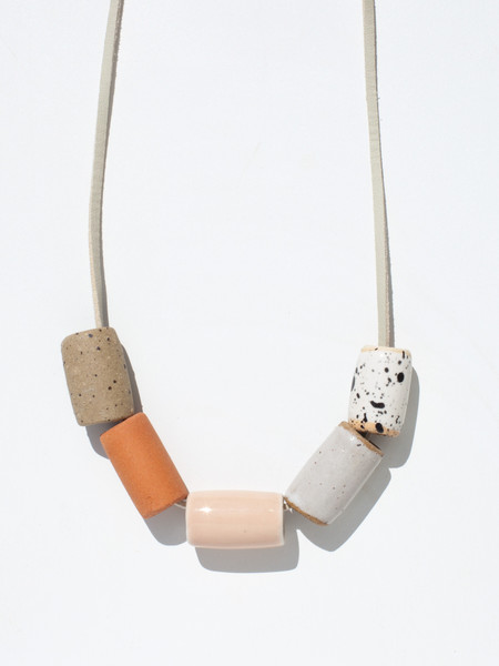 The Pursuits of Happiness Ceramic Bead Necklace - Terracotta/Blush