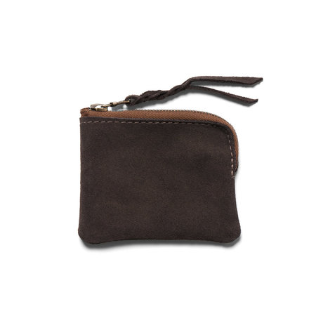 Maple Half Zip Wallet ( Suede) - Brown