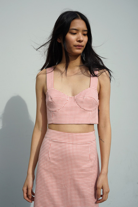 Waltz Bralette Top in Tomato Gingham