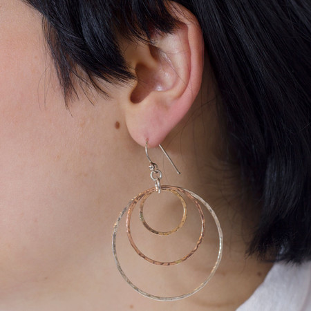 Mikel Grant Jewellery Trimetal Hoop Earrings - Silver, Yellow & Rose Gold