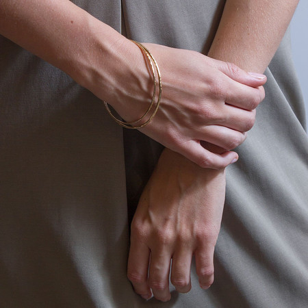 Mikel Grant Jewellery Hammered Bangle Yellow Gold
