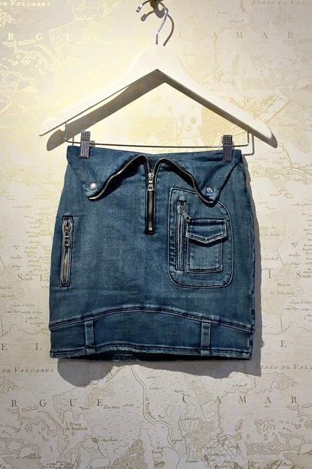 RtA 'Gisele' Biker Mini Denim Skirt
