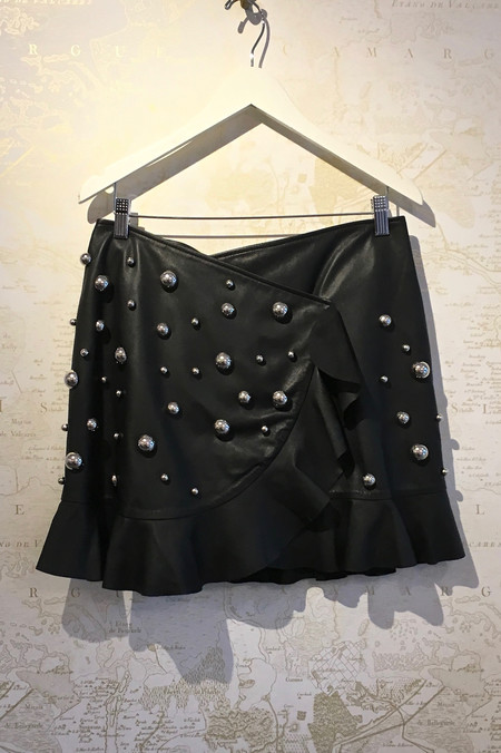 Dodo Bar Or 'Janis' Leather Ruffle Skirt with Hardware