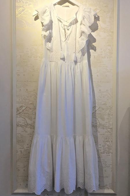 Ulla Johnson 'Vera' Cotton Eyelet Long Dress with Cinch Up Lace