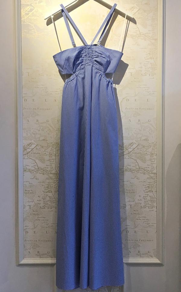 Tibi Gingham Halter Dress