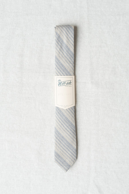 The Hill-Side/Hickoree's Standard Tie In Navy & Tan Waterfall