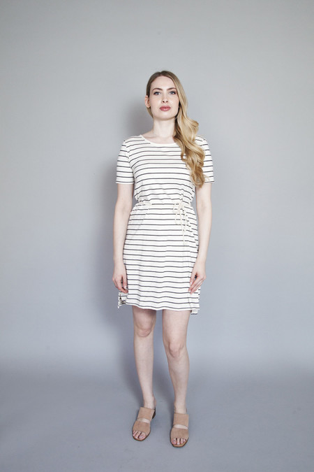 Meemoza – Tea Time Dress – Cream with Black Stripes