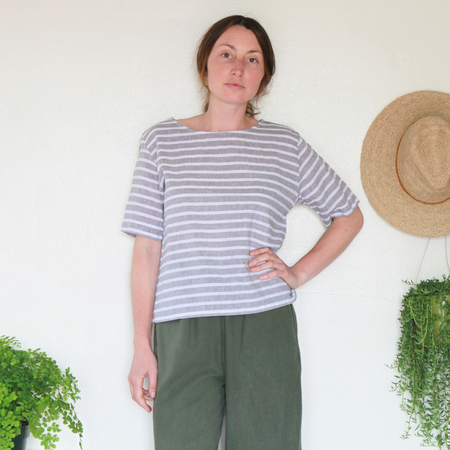 Me & Arrow Square Top - Grey Stripes