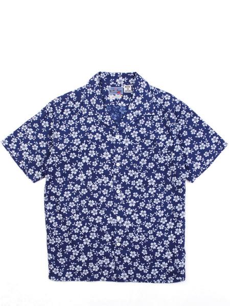 "Blue Blue Japan Indigo Lyocell Full Blooming Sakura ""Bassen"" Printed SS Shirt"