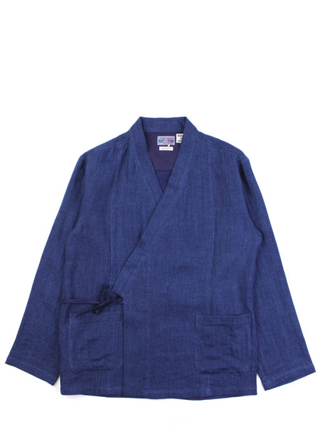 "Blue Blue Japan Woven Indigo Linen ""Haori"" Style Shirt"