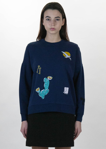 Maison Kitsune Navy Embroideries Sweatshirt