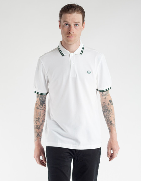 Fred Perry Slim Fit Twin Tipped Polo White Ivy