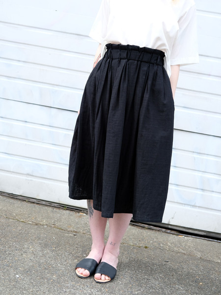 Wrk-Shp Draft Skirt In Black Cotton Gauze