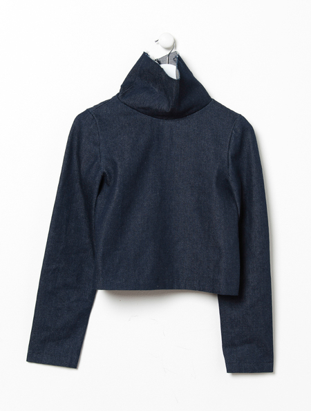 Charlie May Raw Denim Cowl Neck