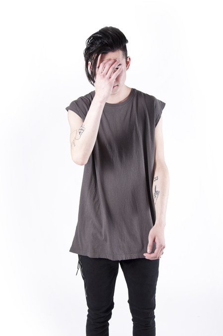 John Elliott Oversized Sleeveless Crew T-shirt Charcoal