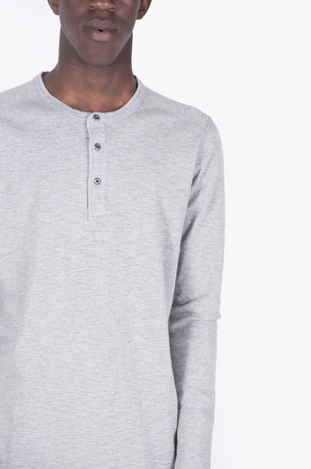 Wings + Horns 1x1 Slub Long-Sleeve Henley Heather Grey
