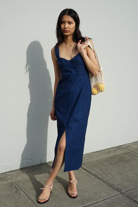 Waltz Bralette Dress in Indigo Linen