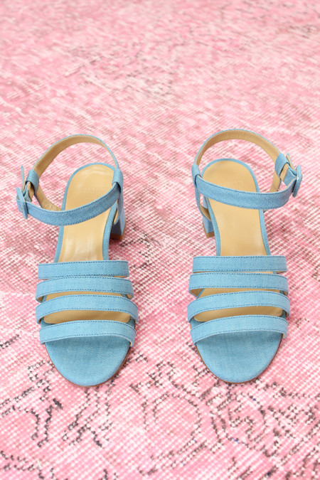 Maryam Nassir Zadeh MNZ Palma Low Heel Sandal Blue Denim