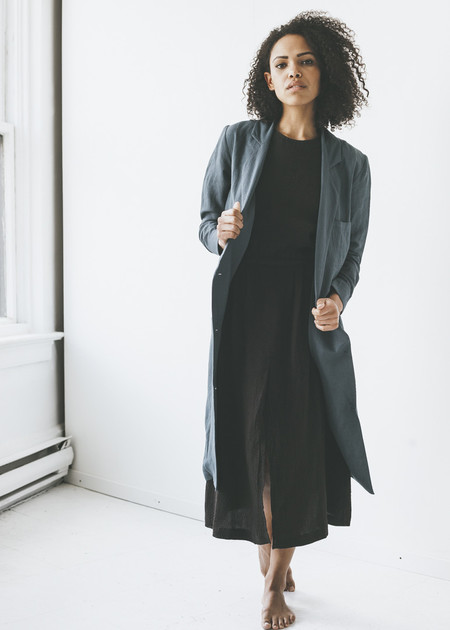 First Rite - Belted Overcoat in Slate