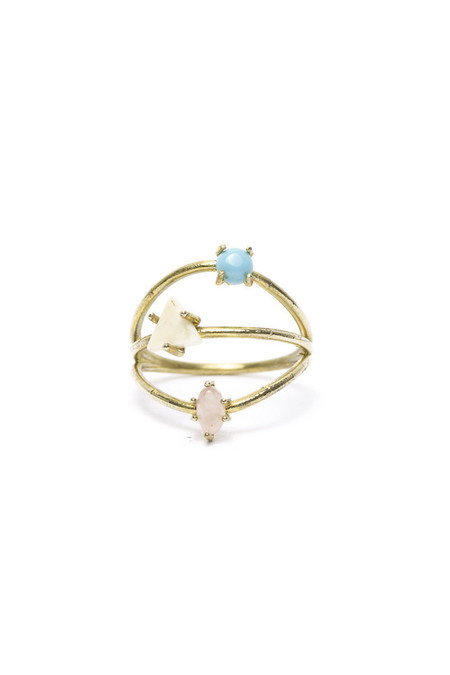 I Like It Here Club Constellation Ring, Turquoise/Gold