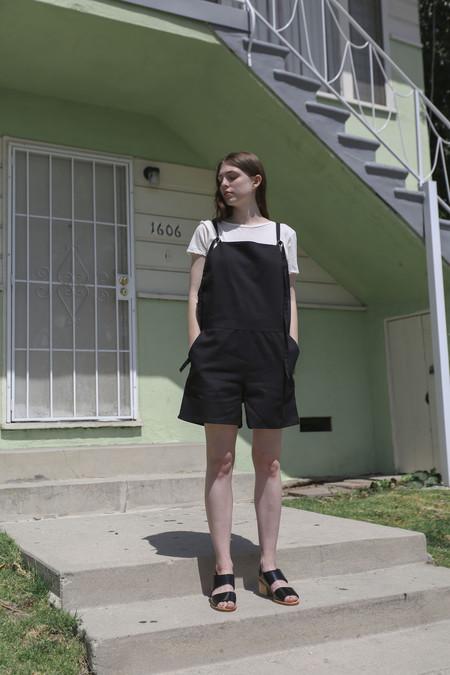 Baserange Short Strap Overalls in Black