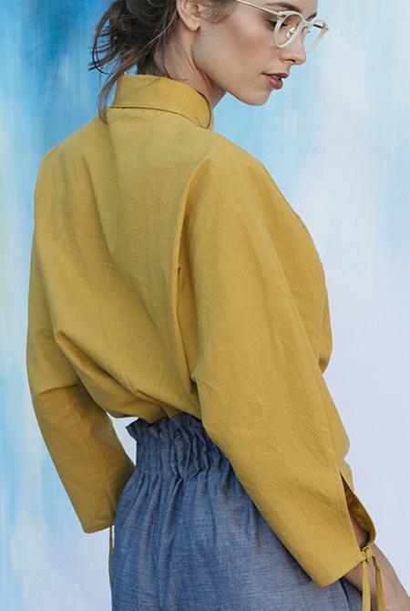 Vestige Story Washi Paper Blouse - Mustard