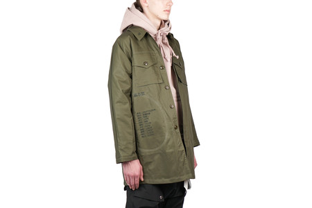 Purlicue EMBROIDERY TRENCH COAT - MILITARY GREEN