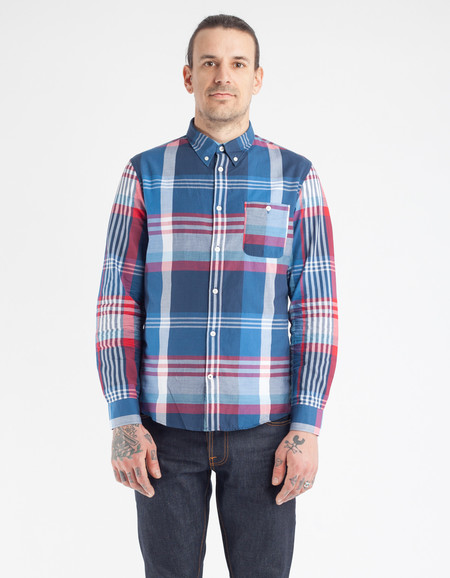 No Nationality New Derek Shirt Blue Check
