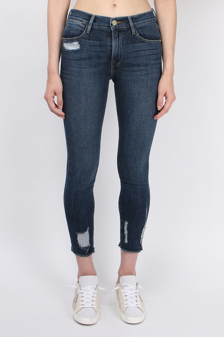 FRAME Denim Le Bermuda Crop Raw Edge