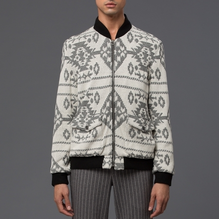 KRAMMER & STOUDT - Dean Knit Bomber - Cream and Black Jacquard