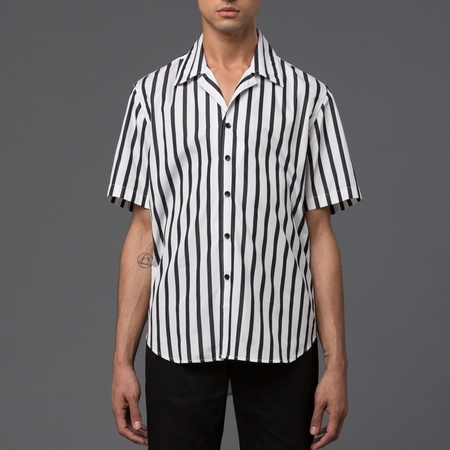 CARLOS CAMPOS - Essential Short Sleeve Dress Shirt with Havana Collar - Black & White Stripe