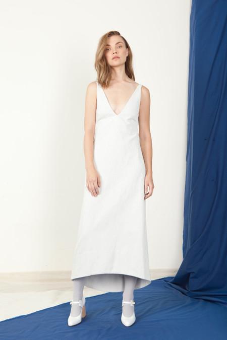 SCHAI Open V-Neck Dress - White