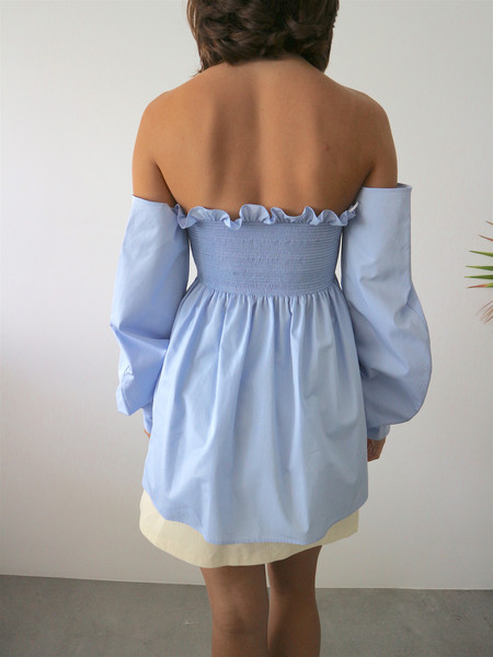 CF. Goldman Off The Shoulder Corset Shirt - Blue