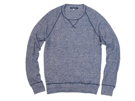 ALEX MILL COTTON LINEN HONEYCOMB SWEATER NAVY