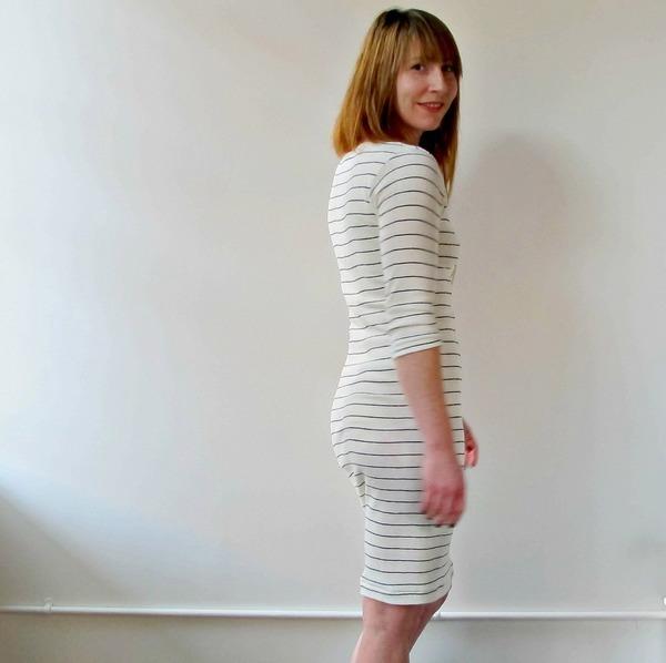 Curator Jude Dress | White/Thin Black Line