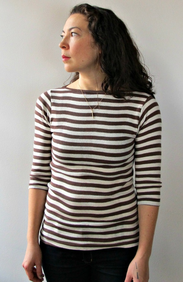 Juniper Boatneck in Brown and White Stripe by Curator