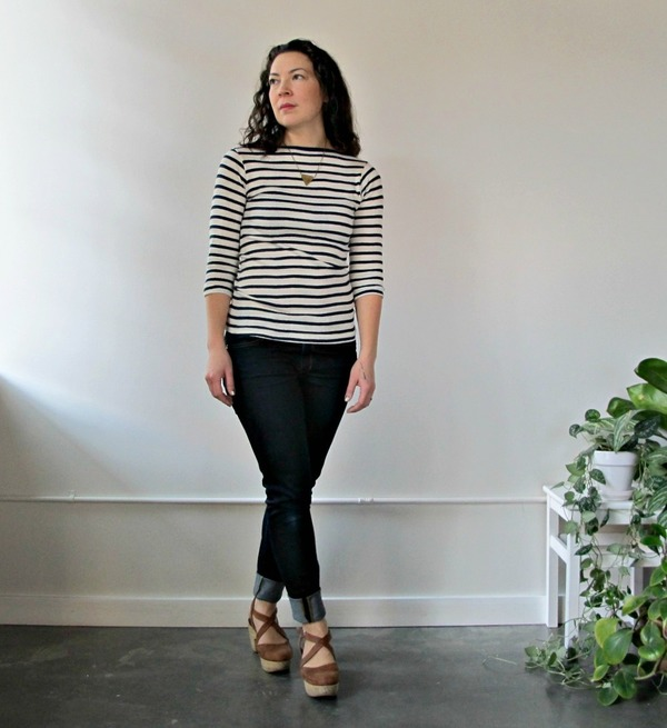 Juniper Boatneck in Navy and White Stripe by Curator