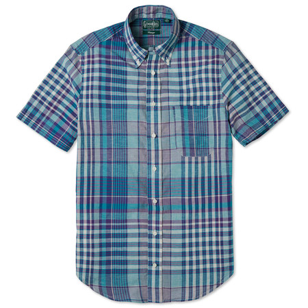 Gitman Vintage Teal Madras Check Shirt