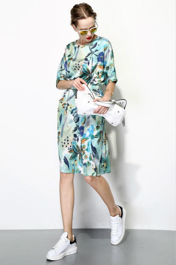 Few Moda Silk Tropical Print Midi Dress