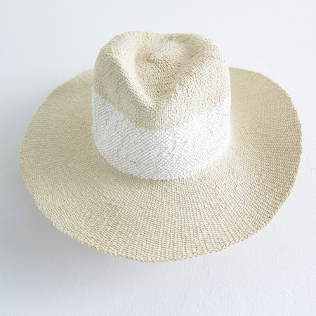 Hat Attack wide stripe fedora - natural/white
