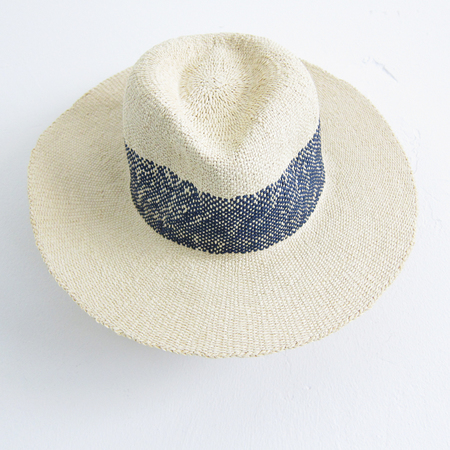 Hat Attack wide stripe fedora - natural/navy