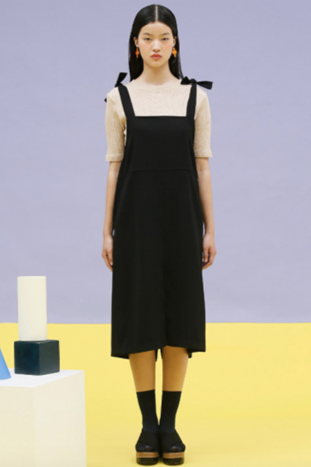 Oversized Tie Overall Dress- Black