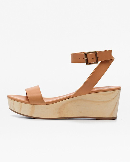 Nisolo Sarita Wooden Wedge Sandal Tan 5 for 5