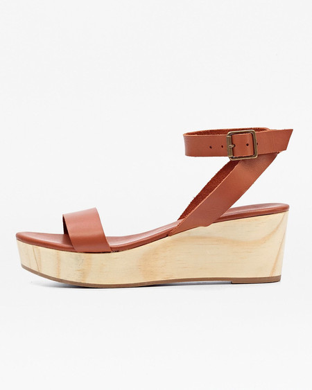 Nisolo Sarita Wooden Wedge Sandal Whiskey 5 for 5